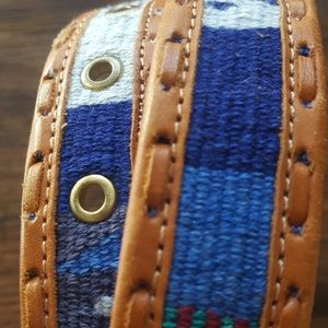 True Vintage Leather woven boho belt 36""